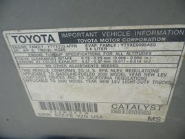 2000 TOYOTA 4RUNNER SR5 SILVER 3.4L AT 4WD Z17923