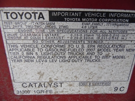 2007 TOYOTA TACOMA DOUBLE SR5 RED 4.0L AT 4WD Z17655
